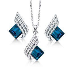 Aquamarine Necklace And Earring Set