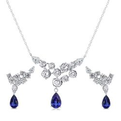 Blue Necklace And Earring Set