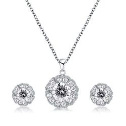 Flower Girl Necklace And Earring Set