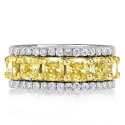 Eternity Multi Row Yellow Cushion Cut Wedding Band