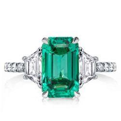 Three Stone Emerald Cut Engagement Ring