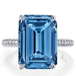 Classic Emerald Cut Created Aquamarine Engagement Ring