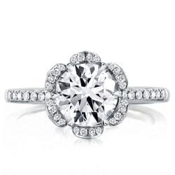 Flower Design Round Cut Halo Engagement Ring