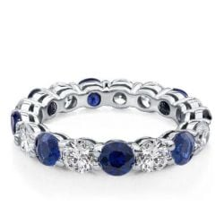 Round Cut Blue Sapphire Eternity Wedding Band