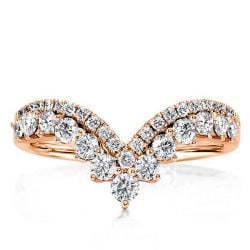 Rose Gold V-design Round Wedding Band