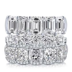 Triple Row Emerald & Round &Cushion Stackable Band Set