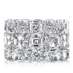 Triple Row Eternity Round & Asscher & Cushion Stackable Band Set