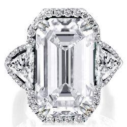 Double Prong Halo Three Stone Emerald Engagement Ring
