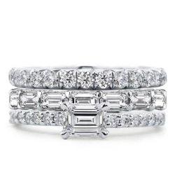 East West Round & Emerald 3PC Bridal Set