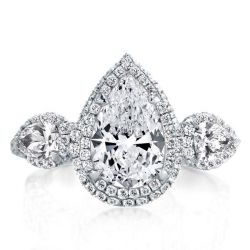 Double Halo Three Stone Pear Cut Enagement Ring