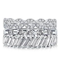 Triple Row Round & Baguette Stackable Band Set