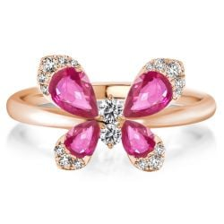 Rose Gold Pear Cut Butterfly Engagement Ring