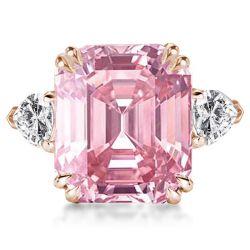 Pink Three Stone Emerald Cut Engagement Ring
