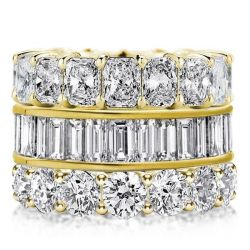 Triple Row Golden Round & Radiant & Baguette Stackable Band Set