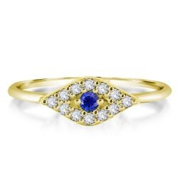 Evil Eye Style Round Cut Golden Engagement Ring