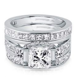 Italo Three Stone Created White Sapphire 3PC Wedding Set