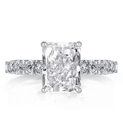 Double Hidden Halo Radiant Cut Engagement Ring