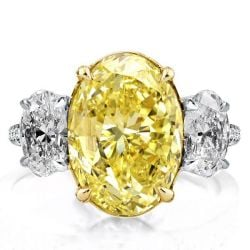 Two Tone Three Stone Yellow Oval Engagement Ring