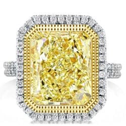 Halo Two Tone Split Shank Radiant Yellow Engagement Ring