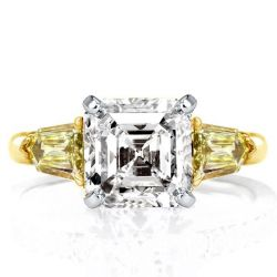 Two Tone Three Stone Asscher Cut Engagement Ring