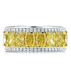 Two Tone Triple Row Cushion Yellow Wedding Band