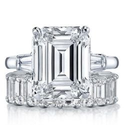 Three Stone Emerald Cut Bridal Set