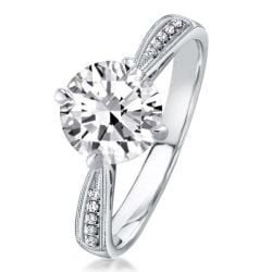 Italo Milgrain Cathedral Created White Sapphire Engagement Ring