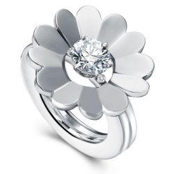 Round Cut Solitaire Flower Design Wedding Set