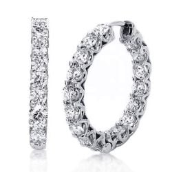 Round Cut Silver Hoop Earrings For Women