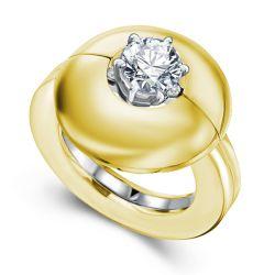 Golden Round Cut Solitaire Wedding Set