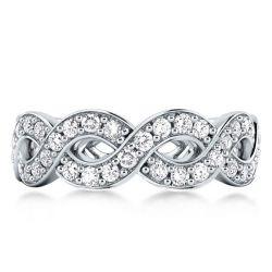 Eternity Baroque Braid Design Channel Round Cut Wedding Band