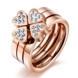 Italo Rose Gold Clover White Sahhpire 3PC Wedding Set