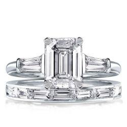 Emerald & Baguette Cut Three Stone Bridal Set