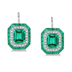 Luxury Double Halo Emerald  Drop Earrings