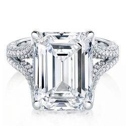 Split Shank Emerald Cut Engagement Ring
