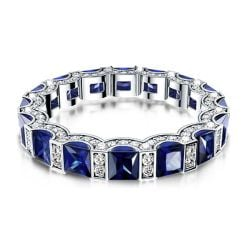 Blue Round & Asscher Cut Wedding Band