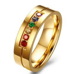 Rainbow Color Golden Titanium Steel Men's Wedding Band