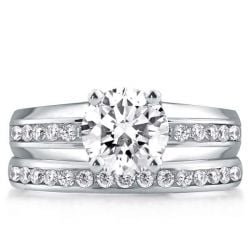 Four Prong Pave Harmony Split Channel Round Cut Bridal Set