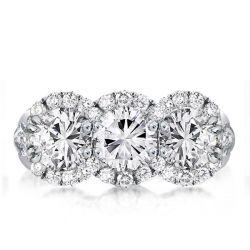 Three Stone Halo Round Cut Engagement Ring