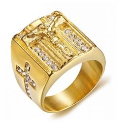 Golden Jesus Stainless Steel Design Men's Wedding Band
