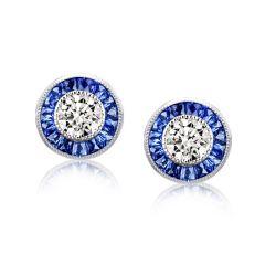 Sapphire Halo Earrings