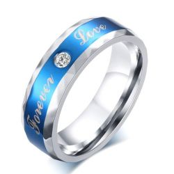 Solitaire Stainless Steel Men's Blue Wedding Band