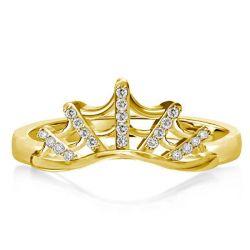 Golden Spider Web Round Cut Wedding Band