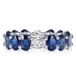 blue sapphire diamond band