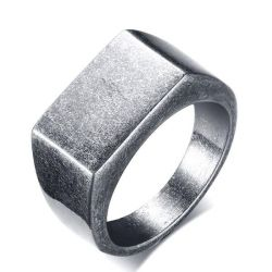 Vintage Gray Stainless Steel Men's Wedding Band
