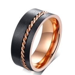 Two Tone Chain Design Stainless Steel Men's Black Wedding Band