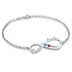 Personalized Infinity Names Bracelet with Birthstones