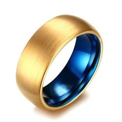 Simple Two Tone Tungsten Carbide Men's Wedding Band