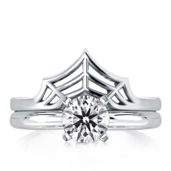Spider Web Design Simplicity High Polish Round Bridal Set