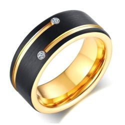 Two Tone Concave-convex Design Men's Tungsten Wedding Band